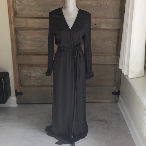 Vici Dresses   Nwot Olive Green Long Sleeve Wrap Maxi Dress   Poshmark
